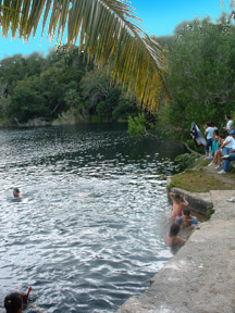 Swimming at Cenote Azul