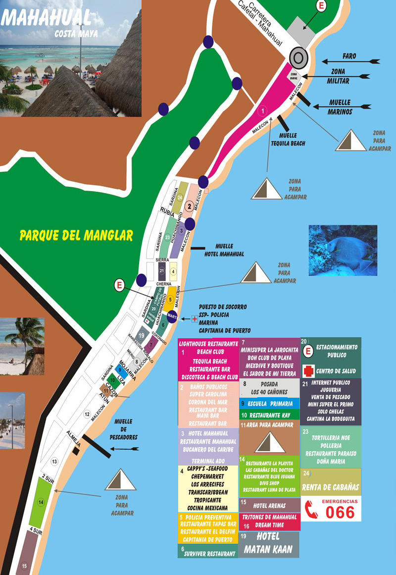 Mahahual Map of the town