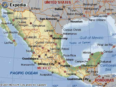 travel info map of mexico