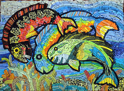fish Mosaic from flip-flops