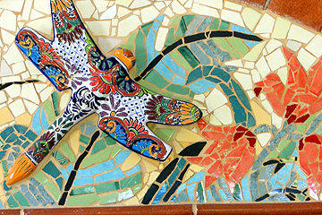 Mosaic Headboard detail with talevera dragonfly