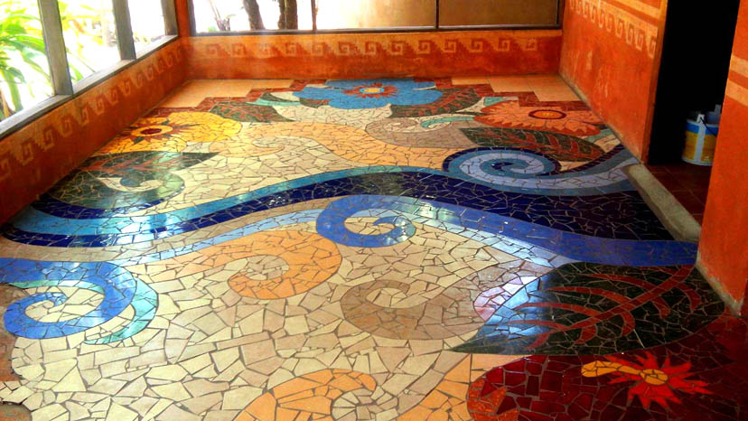 Mayan Beach Garden Dining Room Mosaic Floor